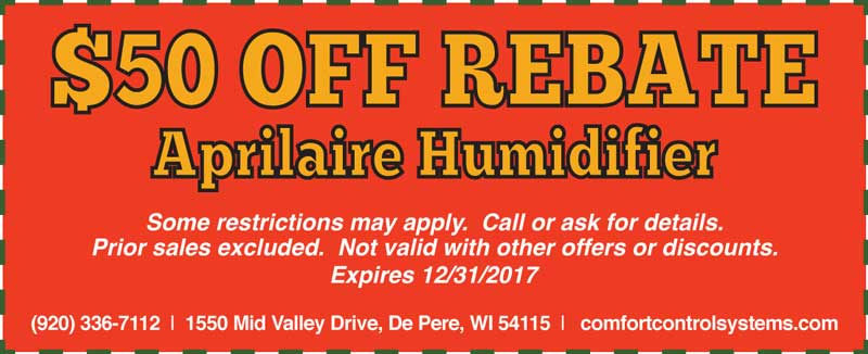 $50 off Rebate April Aire Humidifier Coupon