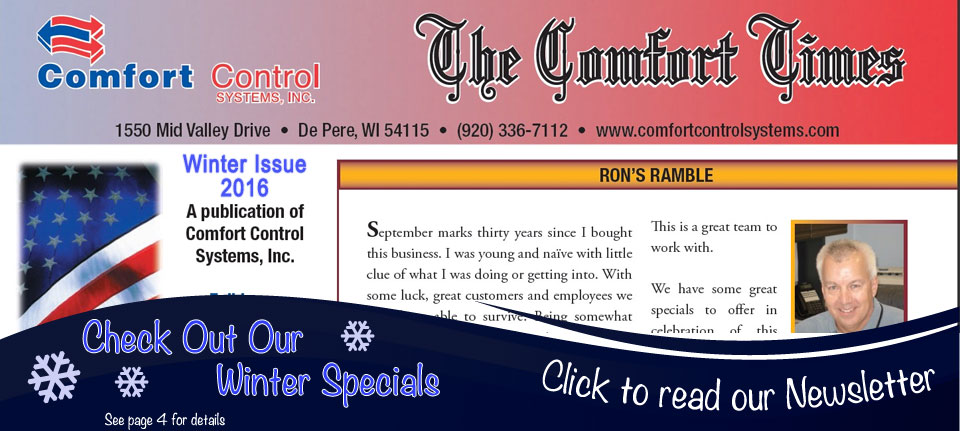 The Comfort Times published by Comfort Control Systems of Green Bay, WI